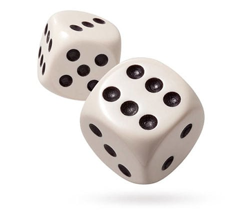 A picture of six-sided dice
