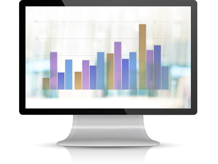 A picture of a bar chart displayed on a desktop computer