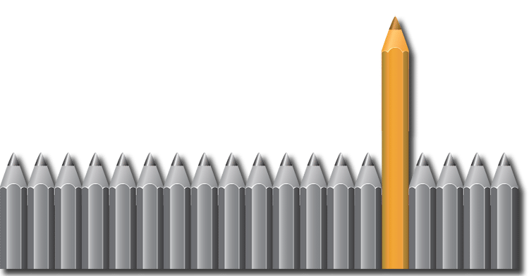 Several gray pencils with one large orange-colored pencil