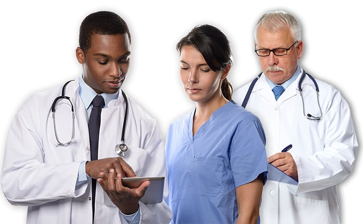 A picture of three medical professionals