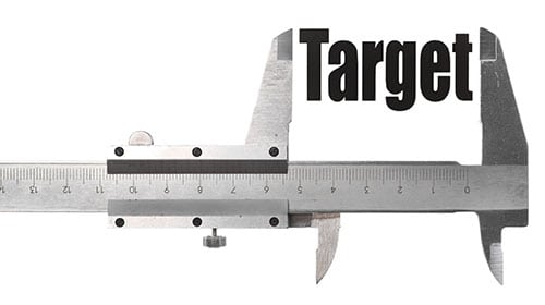 Measuring device with the word Target being measured
