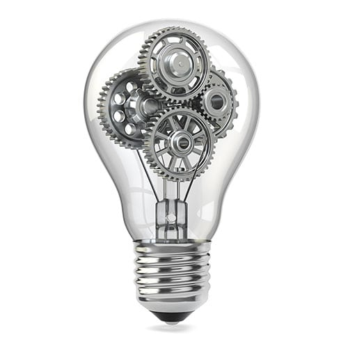 A lightbulb containing small gears