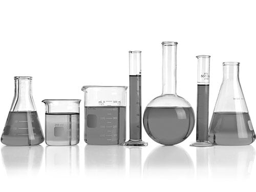 A side-view of some chemistry vials