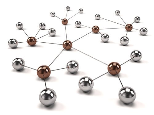 Several brass and silver balls connected together representing a network