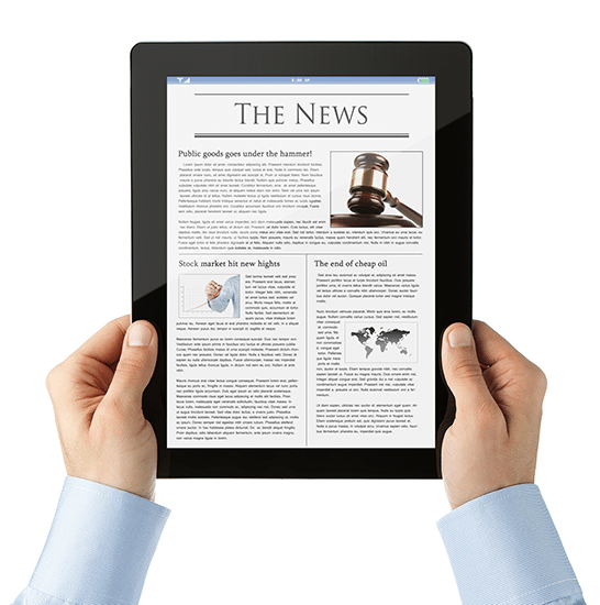 A newspaper front-page displayed on a tablet screen