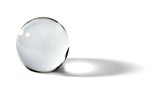 A crystal ball, side-view