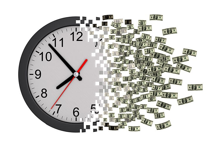 A picture of a clockface changing into currency
