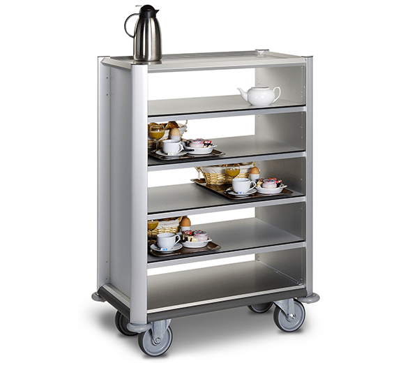 A hospital cart carrying food