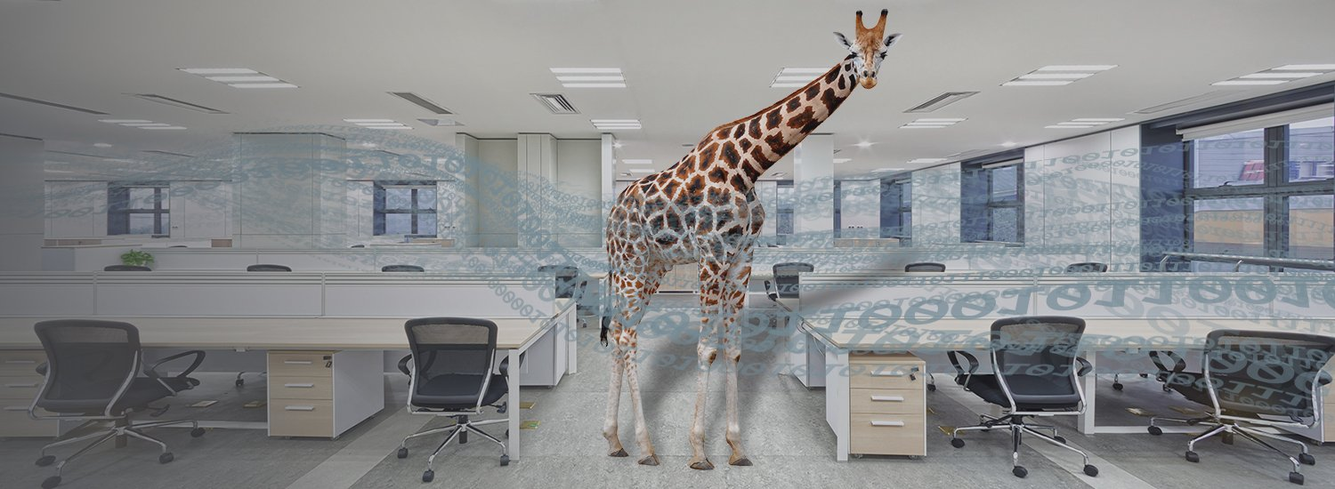 Image of a giraffe in an office room