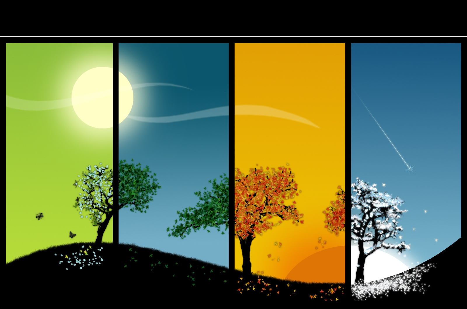 Shared landscape of trees depicting each season and time